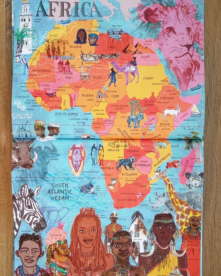 Africa map from The Picture Atlas by Simon Holland and Jill Calder for Bloomsbury Children's illustrated Atlas non fiction