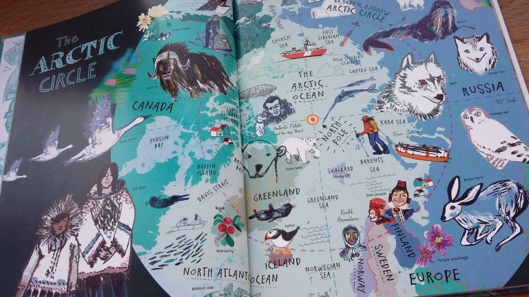 The Arctic Circle map The Picture Atlas by Simon Holland and Jill Calder for Bloomsbury Children's illustrated Atlas non fiction