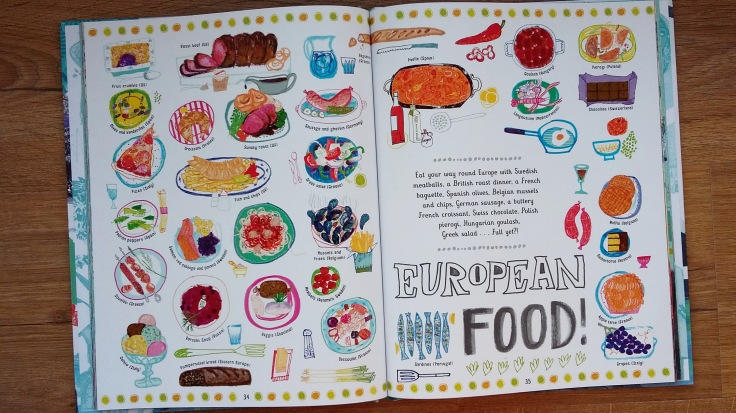 European food from The Picture Atlas by Simon Holland and Jill Calder for Bloomsbury Children's illustrated Atlas non fiction