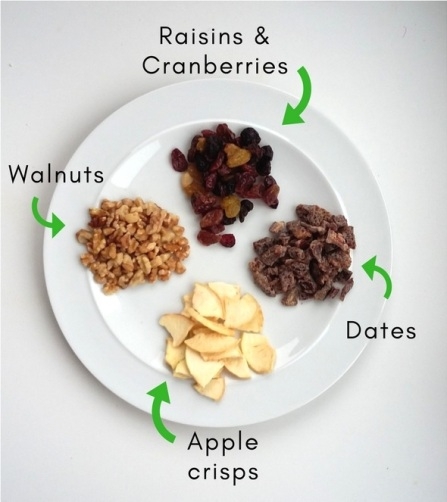 Fruit and nuts for chocolate bark Tu Bishvat