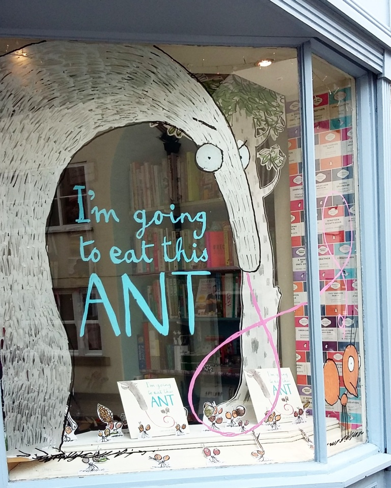 Little Ripon Bookshop window display mural I'm Going to Eat This Ant by Chris Naylor-Ballesteros