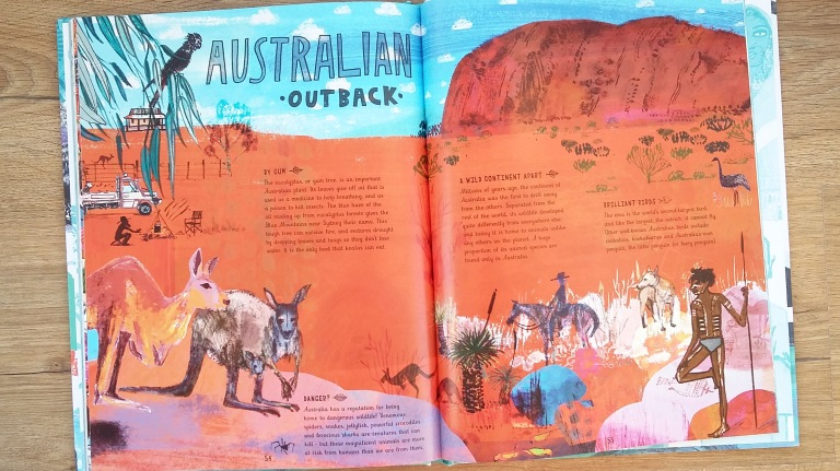 Australian outback information from The Picture Atlas by Simon Holland and Jill Calder for Bloomsbury Children's illustrated Atlas non fiction