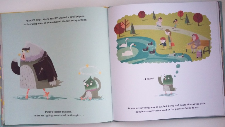 Percy the pigeon in The Last Chip by Duncan Beedie Templar Publishing Picture Book in aid of The Trussell Trust