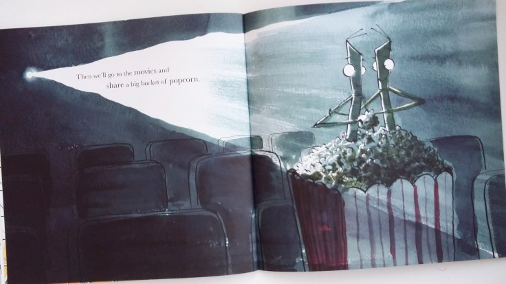 Sharing popcorn at the cinema in I Love You, Stick Insect by Chris Naylor-Ballesteros Bloomsbury Picture Book
