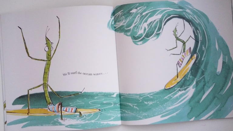 Surfing the ocean waves in I Love You, Stick Insect by Chris Naylor-Ballesteros Bloomsbury Picture Book