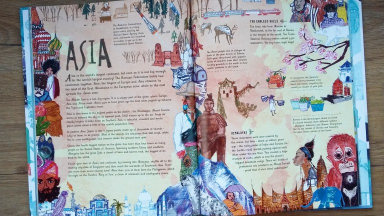 Asia information from The Picture Atlas by Simon Holland and Jill Calder for Bloomsbury Children's illustrated Atlas non fiction