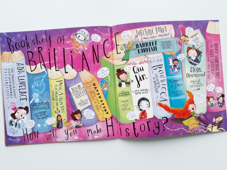 Bookshelf of brilliance women's history in Fantastically Great Women Who Made History Kate Pankhurst Bloomsbury