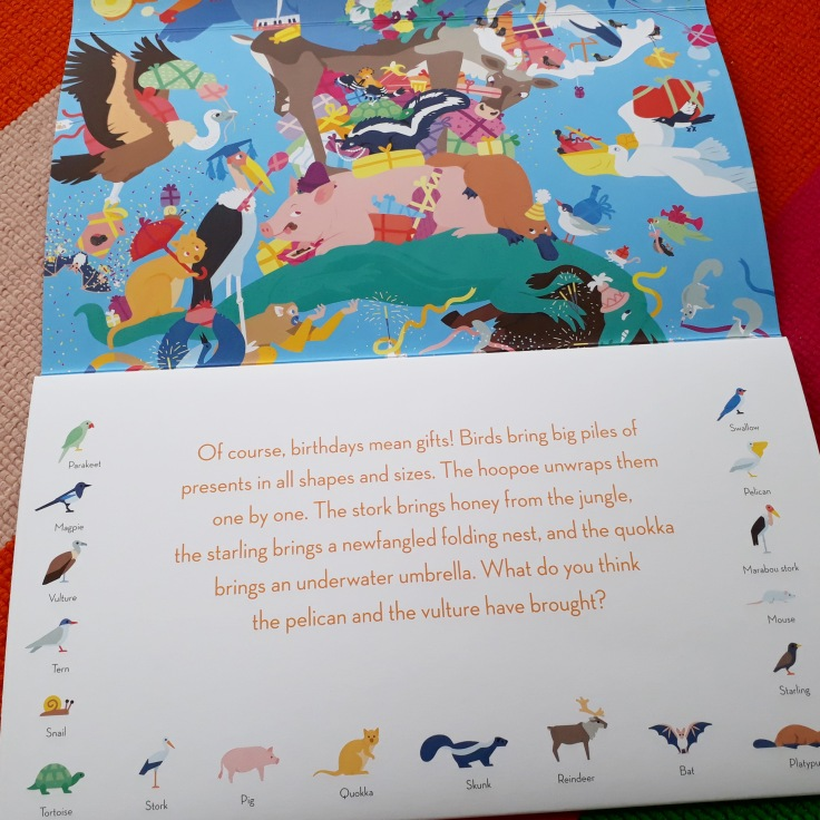 Animals in Party Animals fold out picture book by Clea Dieudonne Thames and Hudson