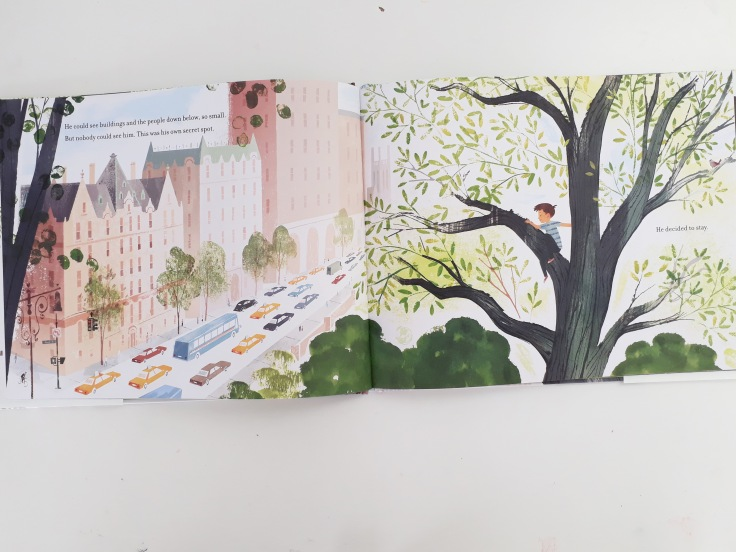 City view in Up in the Leaves Shira Boss Jamey Christoph Sterling Children's Books