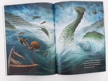 Nessie in The Treasure of the Loch Ness Monster by Lari Don and Natasa Ilincic Discover Kelpies Scottish folk tales