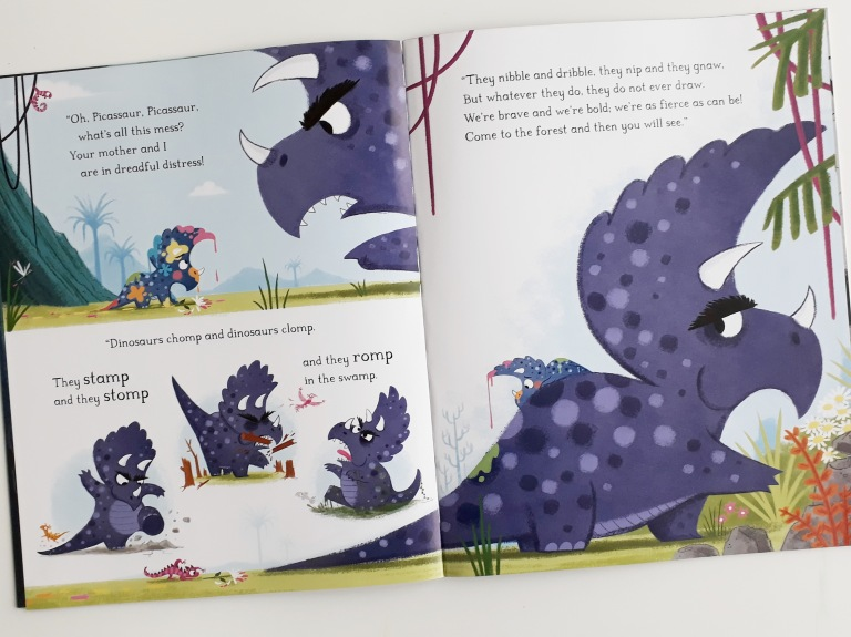 Angry dino dad in Dinosaurs Don't Draw Elli Woollard Steven Lenton Macmillan Children's Books