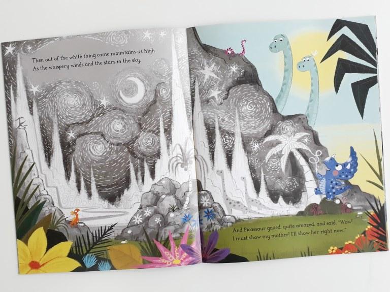 Chalk drawings in Dinosaurs Don't Draw Elli Woollard Steven Lenton Macmillan Children's Books