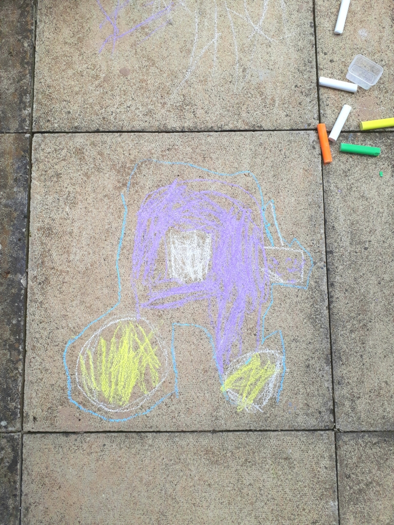 How to encourage reluctant artists chalk drawing