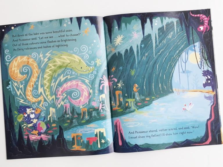 Picassaur cave drawings in Dinosaurs Don't Draw Elli Woollard Steven Lenton Macmillan Children's Books