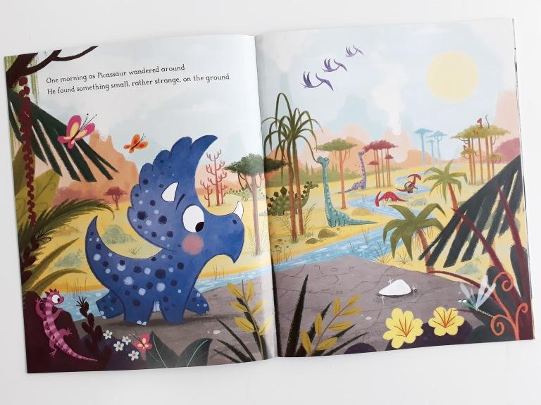 Picassaur finds a chalk in Dinosaurs Don't Draw Elli Woollard Steven Lenton Macmillan Children's Books