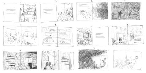 The Day War Came Rebecca Cobb Nicola Davies Walker Books Storyboard
