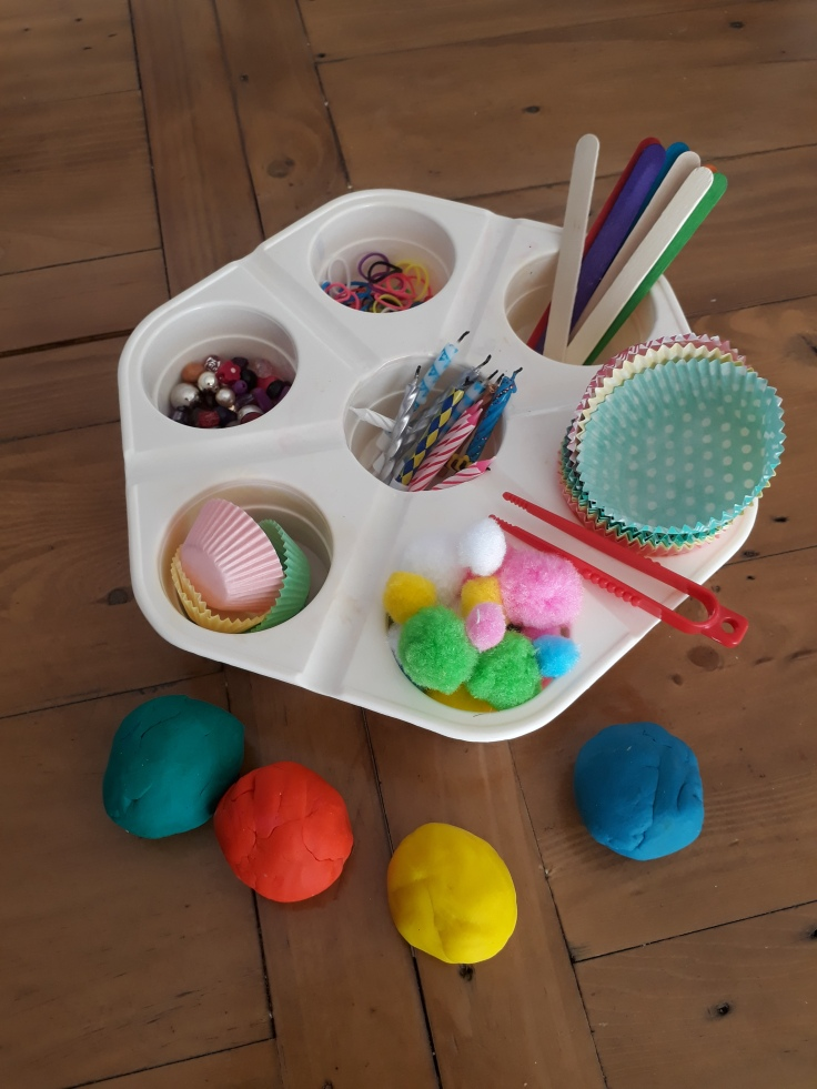 Playdough pom poms beads and candles to decorate playdough birthday cakes Birthday cake pretend play ideas