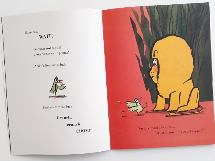 Leonard makes friends with a duck in How to Be A Lion Ed Vere Puffin Books