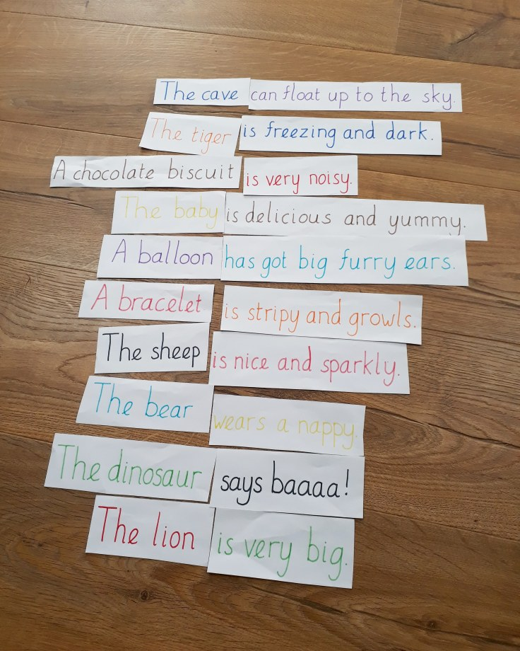 Silly sentences mixed up reading game for eyf key stage 1