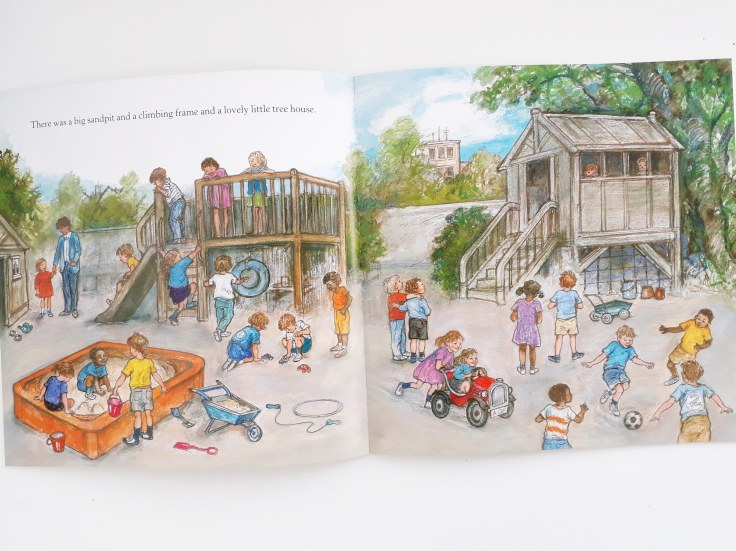 The playground in Alfie at Nursery School by Shirley Hughes