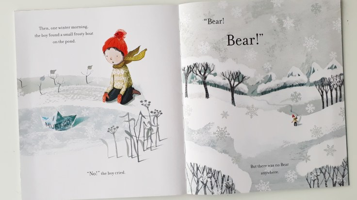 Icy lake in The Boy and the Bear Tracey Corderoy Sarah Massini Nosy Crow