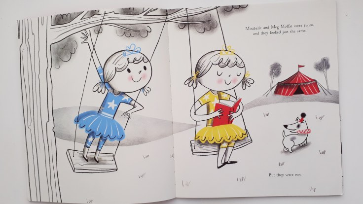 Mirabelle and Meg Moffat twins who look the same but are different Fearless Mirabelle Katie Haworth Nila Aye Templar Publishing picture book