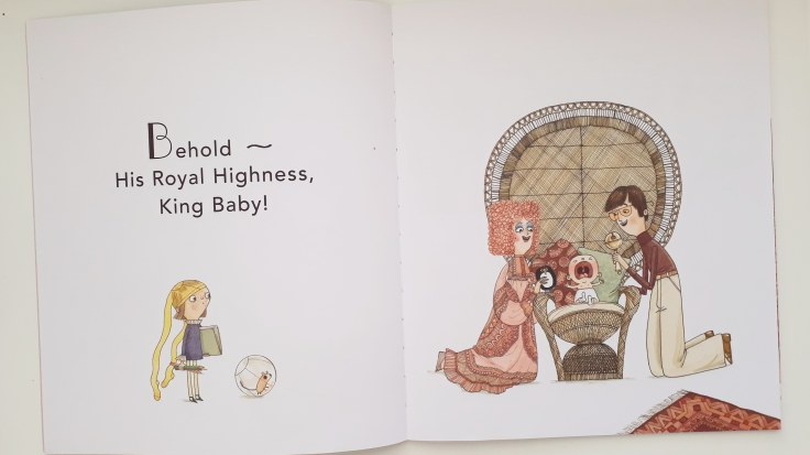 The arrival of the new baby in His Royal Tinyness A Terrible True Story Sally Lloyd Jones David Roberts Walker Books