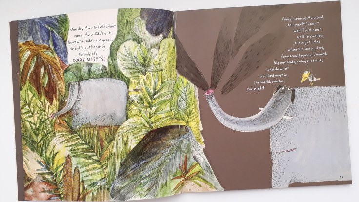 awu the elephant swallows up the night in the elephant that ate the night by bing bai illustrations by yuanyuan shen publisher everything with words picture book bedtime story about be