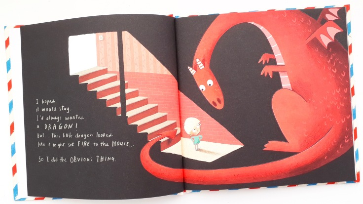 Alex finds a dragon in his basement in Dragon Post Emma Yarlett interactive picture book Walker Books letter writing with children