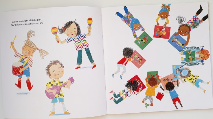 All families and cultures included in All Are Welcome Alexandra Penfold Suzanne Kaufman Bloomsbury diverse picture book