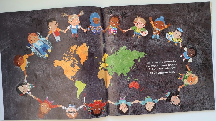 Children from all backgrounds in All Are Welcome Alexandra Penfold Suzanne Kaufman Bloomsbury diverse picture book