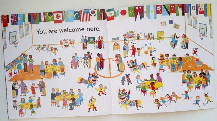 Diverse families and cultures celebrated in All Are Welcome Alexandra Penfold Suzanne Kaufman Bloomsbury diverse picture book