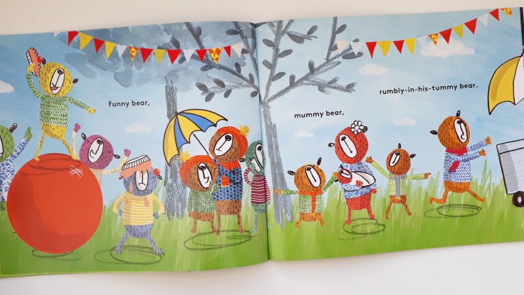 Procession of bears in This Bear That Bear Sian Wheatcroft rhyming picture book Templar Publishing
