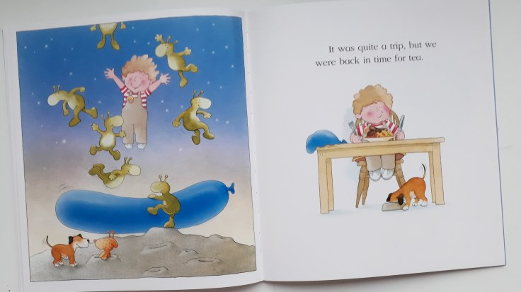 Adventures in space in Kipper The Blue Balloon picture book Mick Inkpen 30 year anniversary hachette hodder children's books
