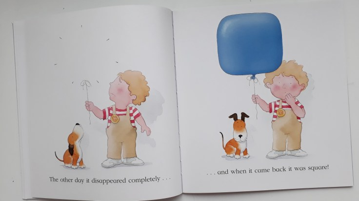 Balloon popped and came back square in Kipper The Blue Balloon picture book Mick Inkpen 30 year anniversary hachette hodder children's books