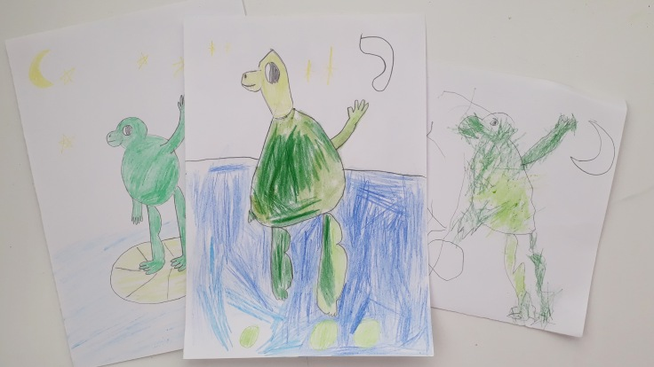 Drawing our own frogs from In the Swamp By the Light of the Moon by Frann Preston Gannon Templar Publishing