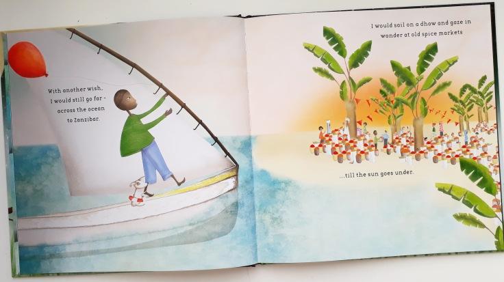 Dreaming of adventures in Sing to the Moon by Nansubuga Nagadya Isdahl and Sandra van Doorn Lantana Publishing kids picture book set in Uganda Africa