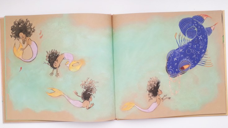 Dreaming of being a mermaid in Julian is a Mermaid Jessica Love Walker Books kids diverse picture book transgender gender fluid