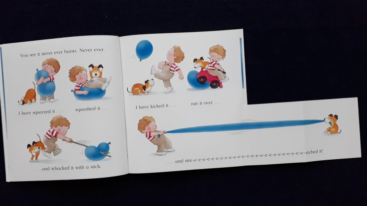 Fold out pages in Kipper The Blue Balloon picture book Mick Inkpen 30 year anniversary hachette hodder children's books