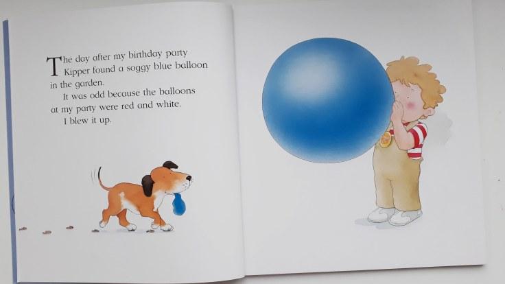 Found a soggy balloon Kipper The Blue Balloon picture book Mick Inkpen 30 year anniversary hachette hodder children's books