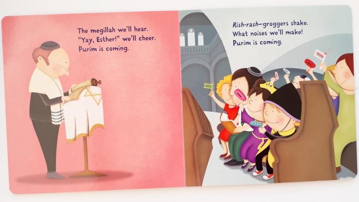 Listening to the megillah in Purim is Coming by Tracy Newman Viviana Garofoli Kar Ben publishing Jewish kids picture book