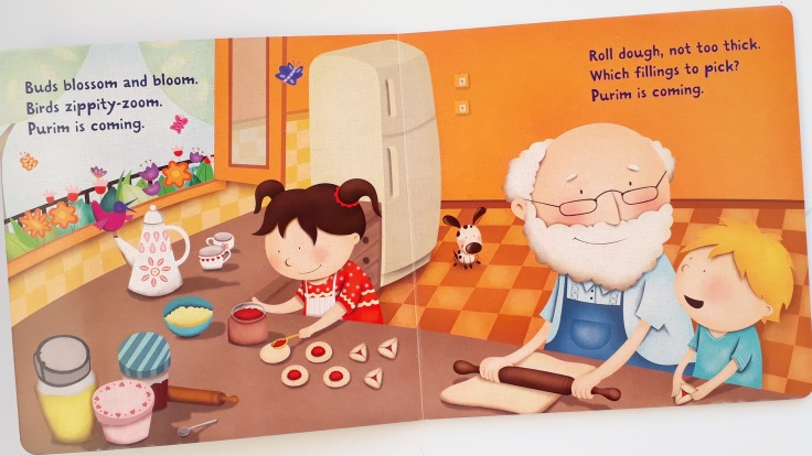 Making hamantaschen in Purim is Coming by Tracy Newman Viviana Garofoli Kar Ben publishing Jewish kids picture book