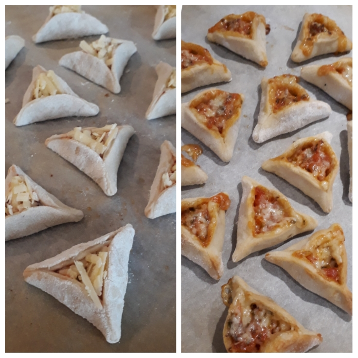 Pizza hamantaschen kids activity for Purim before and after cooking