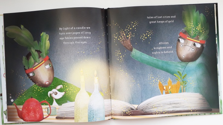 Telling stories by candlelight in Sing to the Moon by Nansubuga Nagadya Isdahl and Sandra van Doorn Lantana Publishing kids picture book set in Uganda Africa
