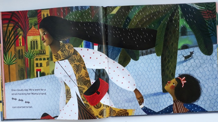 Mira watches her mother's hair change in the rain Mira's Curly Hair Maryam al Serkal Rebeca Luciani Lantana Publishing diverse kids picture book