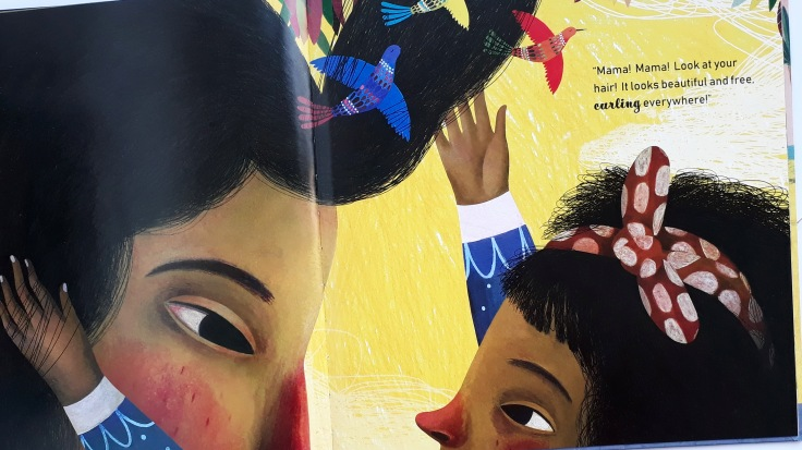 Mother and daughter's love for each other's natural curly hair in Mira's Curly Hair Maryam al Serkal Rebeca Luciani Lantana Publishing diverse kids picture book