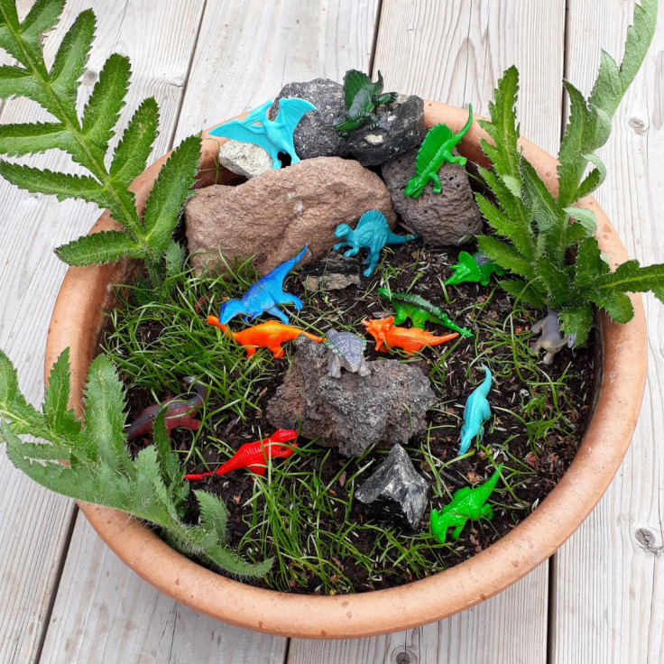 Dinosaur garden children's outdoor gardening small world play