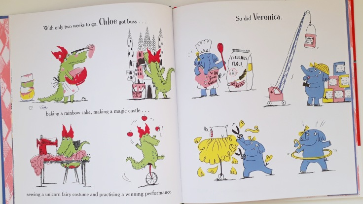 Chloe and Veronica in I Really Want That Unicorn Fabi Santiago Orchard Books Picture Book