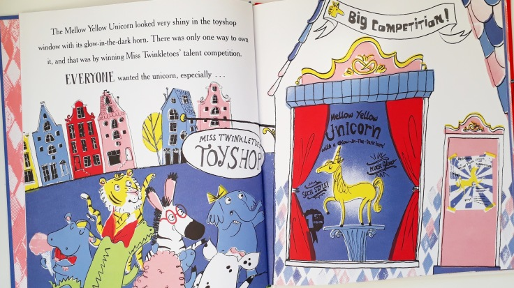 The yellow unicorn in I Really Want That Unicorn Fabi Santiago Orchard Books Picture Book