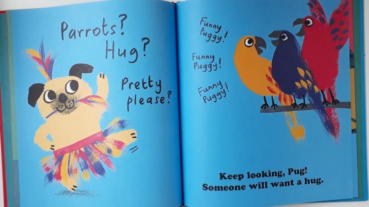 Funny parrots in Pug Hug by Zehra Hicks Hodder Children's Books picture book
